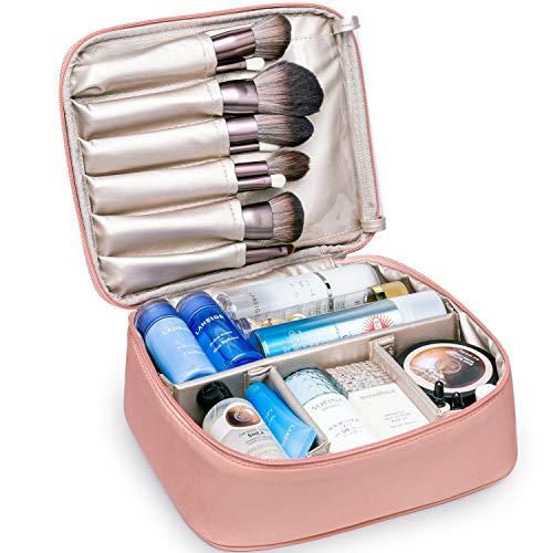 Travel Makeup Bag Large Cosmetic Bag Makeup Case Organizer for Women and Girls (Soft Pink)