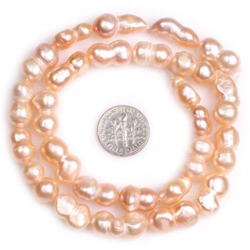 (JOE FOREMAN 11x18mm Freshwater Cultured Pearl Semi Precious Gemstone Pink Peanut Shape Loose Beads for Jewelry Making DIY Handmade Craft Supplies 15