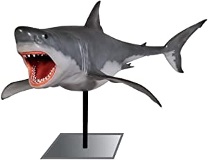 LM Treasures Shark Great White # 1 Life Size On Metal Base Sea Prop Resin Statue