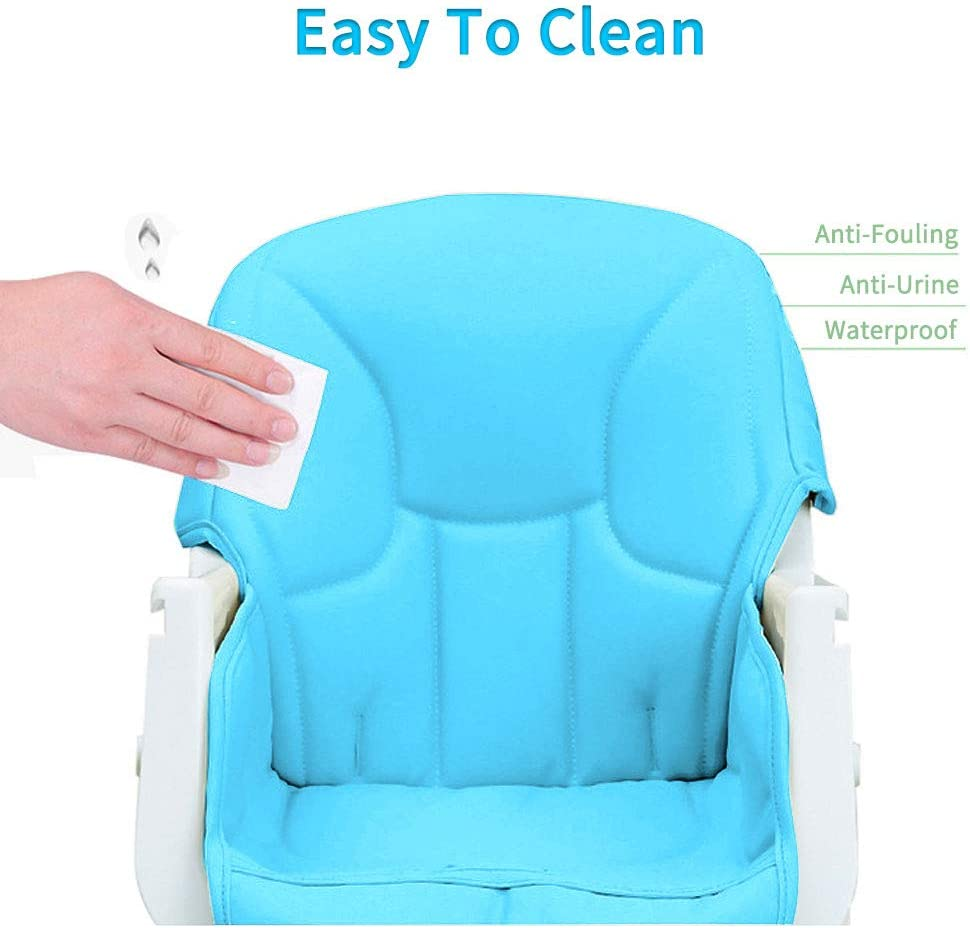 Baby High Chair Foldable/&Adjustable Booster Seat Toddler Chair with Eating Table Safety PU Chairs for Babies Blue Blue