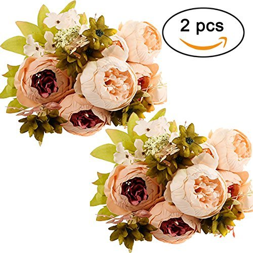 Ogrmar Vintage Artificial Peony Silk Flowers Bouquet for Decoration (Light pink x2)