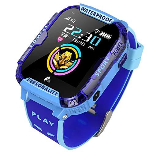 Nrpfell 4G Kinder Smart Watch Kind SOS Notruf Smartwatch GPS Positionierung Tracking Ip67 Wasserdicht Kind Uhr Blau
