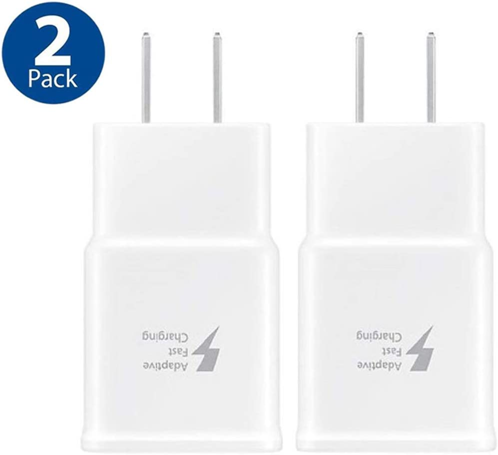 Samsung Adaptive Fast Charging Wall Charger Adapter Compatible with Samsung Galaxy S6 S7 S8 S9 S10 / Edge/Plus/Active, Note 5,Note 8, Note 9 and More (2 Pack) Quick Charge (White)