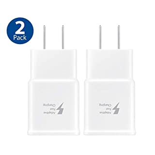 Adaptive Fast Charging Wall Adapter-ChiChiFit 2 Pack Travel Charger Plug Compatible with Samsung Galaxy Note9 / Note8 / Note5 / S10 / S9 / S8 / S8 / S7 / S6 Plus, Galaxy S8 Active and More (White)