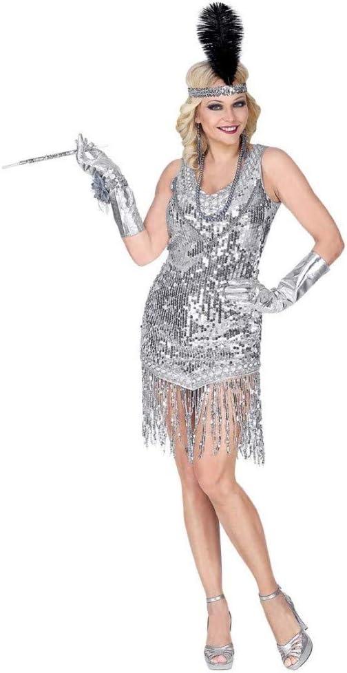 WIDMANN 08723 para mujer Disfraz 20 años Charleston, mujer, plata ...