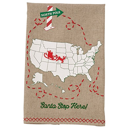 (Mud Pie Santa Stop Here Fingertip Embroidered Christmas Accent Towel)