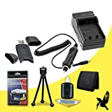 Halcyon Brand 600 mAH Charger with Car Charger Attachment Kit + Memory Card Wallet + SDHC Card USB Reader + Deluxe Starter Kit for Canon VIXIA HF M300 3.89 MP Full HD Flash Memory Camcorder and Canon BP-808