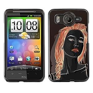 Cubierta protectora del caso de Shell Plástico || HTC G10 || Redhead Girl Black Red Lips Woman @XPTECH