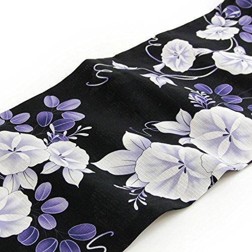 【5月下旬より順次発送】「黒地に白朝顔と紫萩」着付け簡単!変わり織浴衣・作り帯・下駄3点セット