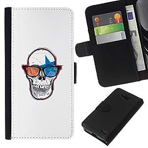 LECELL--Cuero de la tarjeta la carpeta del tirón Smartphone Slots Protección Holder For LG OPTIMUS L90 -- Cráneo Gafas 3D --