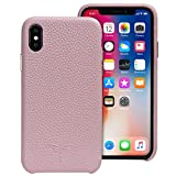 iPhone X Case Leather, iPhone X case [Support Wireless Charging] YUNCE Premium Genuine Cow Leather with New Slim Design Hard Case Cover Fit for Apple iPhone X/iPhone 10 - Pink
