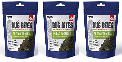 (3 Pack) Fluval Bug Bites Bottom Feeder Pleco Formula for Medium to Large Fish