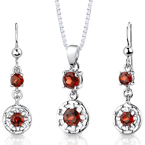 Garnet Pendant Earrings Necklace Sterling Silver Rhodium Nickel Finish Round Shape 2.75 Carats