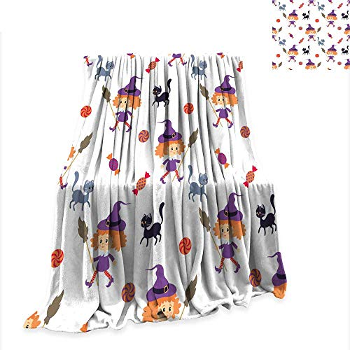 Throws Seamless Pattern with Traditional Characters of Halloween Comfortable and Warm Beach Blanket W60 x L50 inch ()