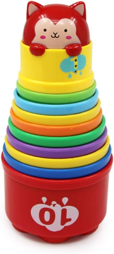 10 pc Rainbow Cup with Light and Sound for 10 Month+ Infant Baby Girl-- Assorted Color GOODWAY Baby Stacking Cups Early Educational Toddlers Toy Boy