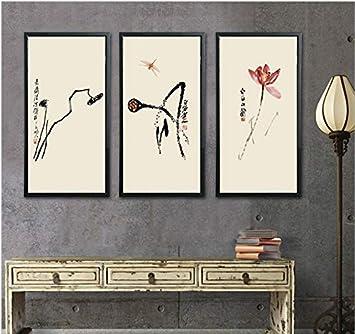 WGXCC Grande Taille Triptychnew Chinois Qi Baishi Zen Lotus Jardin ...