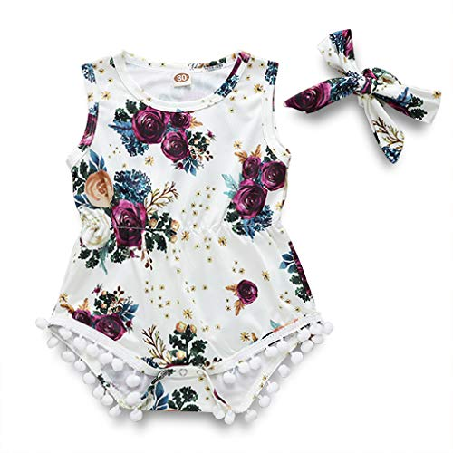 Toddler Kids Baby Girl Floral Halter Ruffled Tops+Shorts 2PCS Outfits Clothes Set (White, 3-6 Months) ()