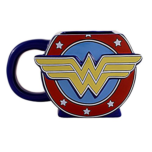 Silver Buffalo WW0595 DC Comics Wonder Woman Logo 3D Sculpted Ceramic Mug, 20-Ounces