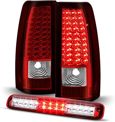 03-06 Chevy Silverado 3rd Brake Lamp Combo Full LED Set For GMC Sierra Red Clear LED Tail Lights