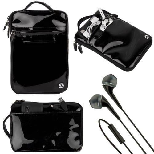 Vangoddy VG Hydei Black Patent Leather Bag Carrying Case for Dragon Touch E70, R70, Y88x, Y88, K7, A7 7