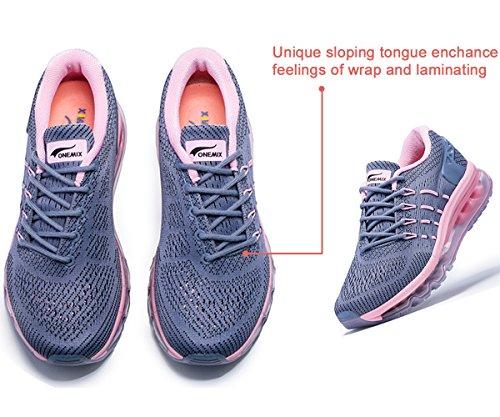 Onemix Dames Hardloopschoenen Lucht Sportschoenen Met Luchtkussen Sneakers Lichtgewicht Schoenen, Gr 36-43 Donker Grijs / Roze