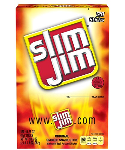 Slim Jim Smoked Snack Sticks, Original,120 count,net weight 33.6 ounce
