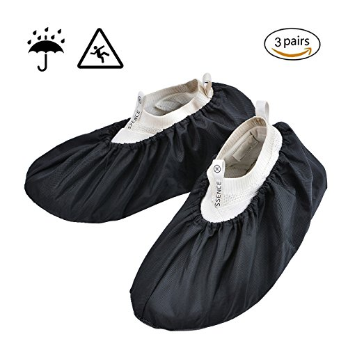 3 Pack Reusable Shoes Boot Covers for Contractors Nonskid, Waterproof, Washable 2 Sizes Fit up to Men's Size 13 Plus (Covers Shoe Skid)