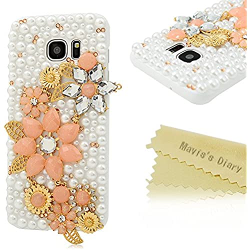 S7 Edge Case,Samsung Galaxy S7 Edge Case - Mavis's Diary Luxury 3D Handmade Bling Crystal Shiny Sparkle Glitter Diamonds Rhinestone Design Hard White Sales