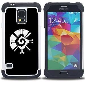 Jordan Colourful Shop - Black White Tribal Native Pattern Vortex For Samsung Galaxy S5 I9600 G9009 G9008V - < Llevar protecci????n de goma del cuero cromado mate PC spigen > -