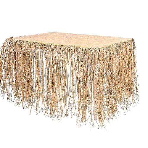 Fun Express - Natural Raffia Table Skirt for Party - Party Supplies - Table Covers - Table Skirts - Party - 1 ()
