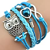 DATEWORK Valentines Gift Fashion Women Lovely Infinity Owl Pearl Friendship Multilayer Charm Leather Bracelets Gift for Forever Love (Blue)