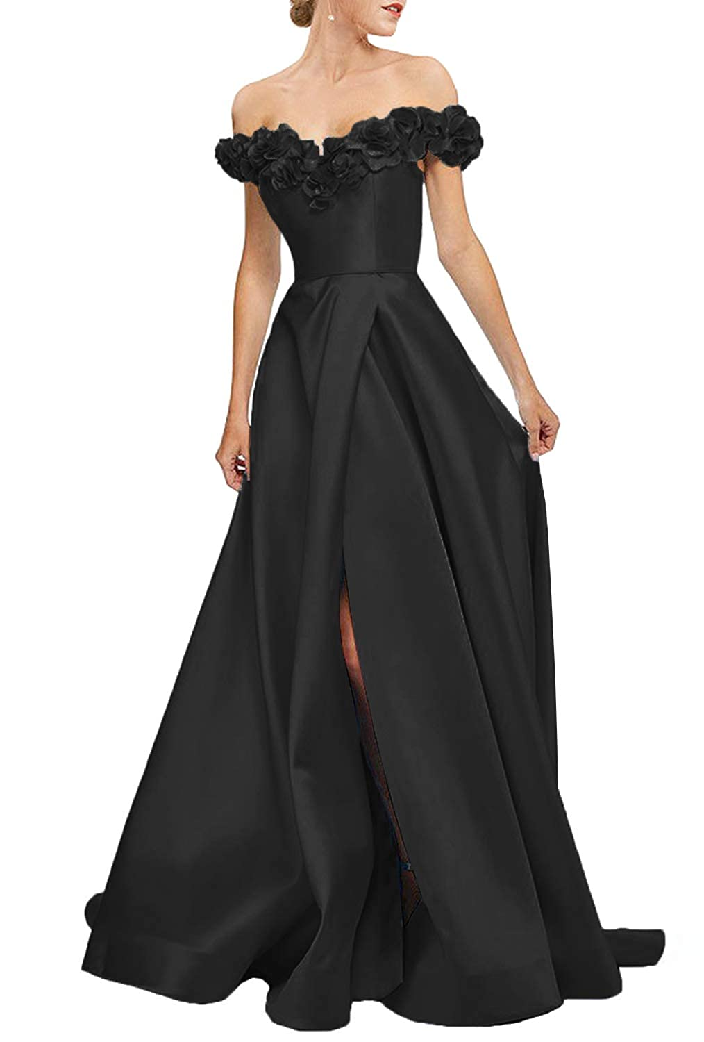 Black Uryouthstyle Strapless Corset Floral Slit Satin Prom Party Dresses Long