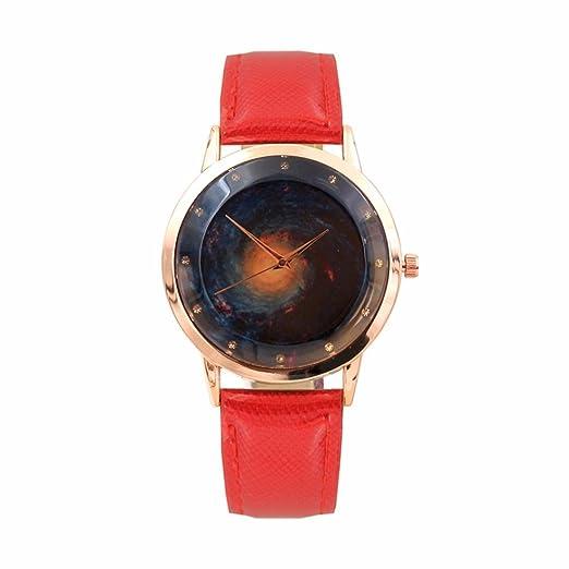 Relojes Mujer, Magiyard Cuero banda cuarzo relojes analógicos correa de marcación digital (Rojo)