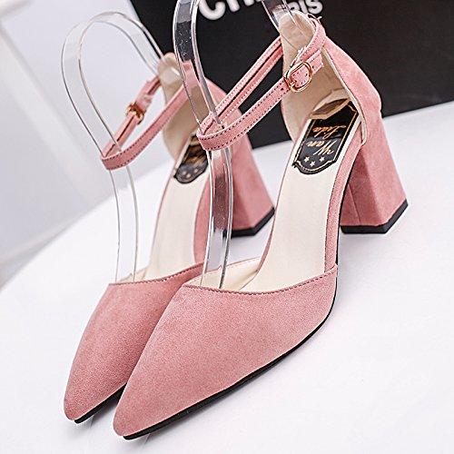 Creux Baotou Boucle Femmes Sandales EU37 Chaussures Pointe Avec SHOESHAOGE Rose Chaussures High Heeled Épais 17qdE