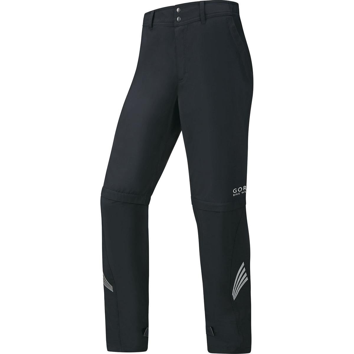 GORE BIKE WEAR 2 in 1 Men's Long Cycling Rain Overpants, GORE WINDSTOPPER, ELEMENT WS AS Zip-Off Pants, Size S, Black, PWZELE