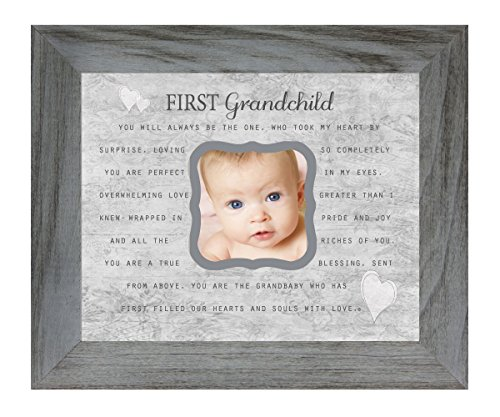 First Grandchild Poem 8 x 10 Inch Distressed Gray Picture Frame, Holds 3