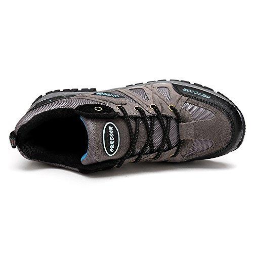 ASHION Zapatillas de senderismo de cuero para hombre Gris