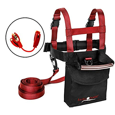 Lucky Bums Toddler and Kids Fall Line Ski Trainer Harness and Easy Wedge Ski Tip Connector Kit, Red (Edgie Wedgie And Harness)