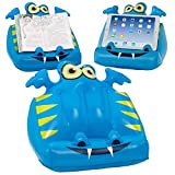 Kids Book & Tablet Lap Stand. Inflatable iPad Holder & Fun Waterproof Reading Rest for Bed, Travel & Study for Children – Blue