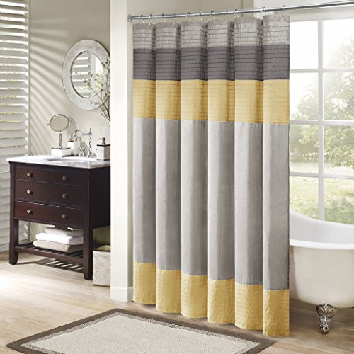 Madison Park MP70-2489 Amherst Shower Curtain 72x72 Yellow (Pale Yellow Fabric)