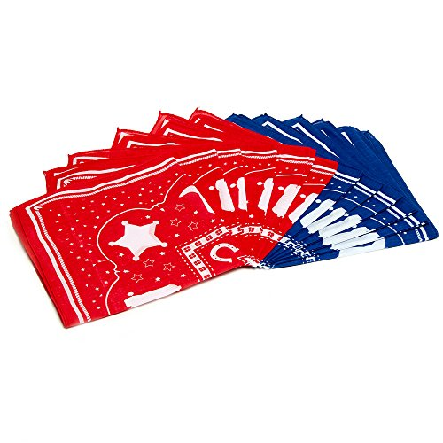 Dozen Straw Cowboy Hats with Cowboy Bandanas (6 Red & 6 Blue) for Kids - Makes Great Birthday Party Hats for Boys and Girls by Play Platoon (Image #1)