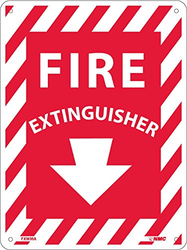 NMC FXWMA FIRE Extinguisher Sign - 9 in. x 12 in. Standard Aluminum Fire Safety Sign with Arrow, White Text on Red - Sign Standard Aluminum