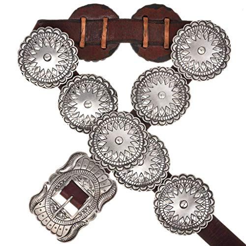 Hammered Sterling Native American Concho Belt 3610