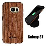 Galaxy S7 Wood Case, NeWisdom Special Designed Rubberized Wood Hybrid Case for Samsung Galaxy s 7 [No need to be removed while wireless charging]–Sandalwood