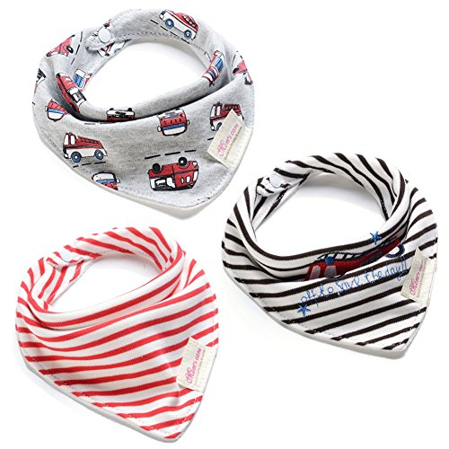 Andi Rose Drool Bibs with Snaps|3-Pack Super Absorbent Organic Cotton|Unisex Baby Gift