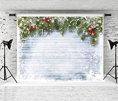 Kate 7x5ft Christmas Photography Backdrops for Photographers Wood Wall Backdrop White Snow Photo Background -