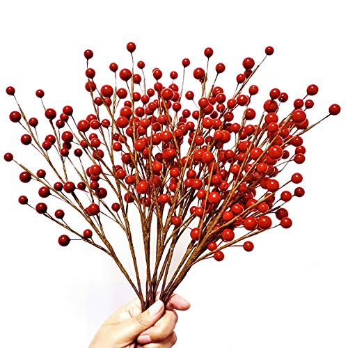 WsCrafts 12 Pack Artificial Red Berries Stems - 12 Inch Waterproof Artificial Berries Branch for Christmas Tree DIY Wreath Home ()