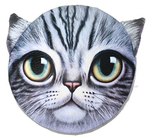 3D Purple Cat Content Face Memory Foam Pillow Bolster Sofa Cushion Chair Seat Pad Stuffed Plush Home Decor US Seller ()