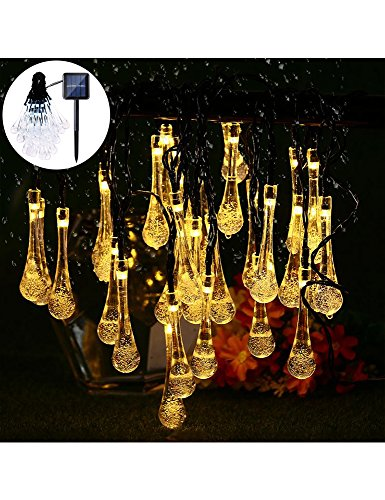LED Solar String Lights - 20 ft 30 LED Water Drop Fairy Solar lights, 8 Modes Waterproof Solar Lights for Outdoor/Indoor Home, Garden, Lawn, Christmas, Wedding and Holiday Decoration (warm white)
