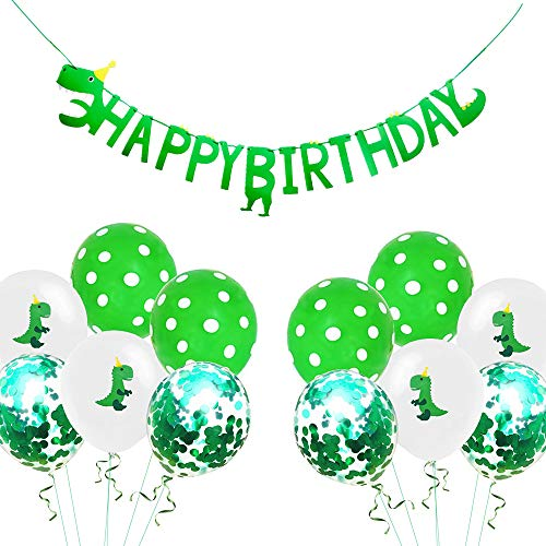 Dinosaur Happy Birthday Banner Dino Party Supplies Decorations Confetti Green White Polka Dot Balloons Dino Birthday Party Favors (14 Pack)]()